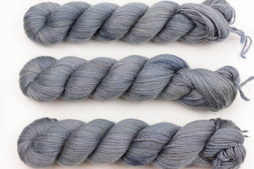 shiver angel dk hand dyed yarn double knitting alpaca silk cashmere soft speckled blue grey 100g