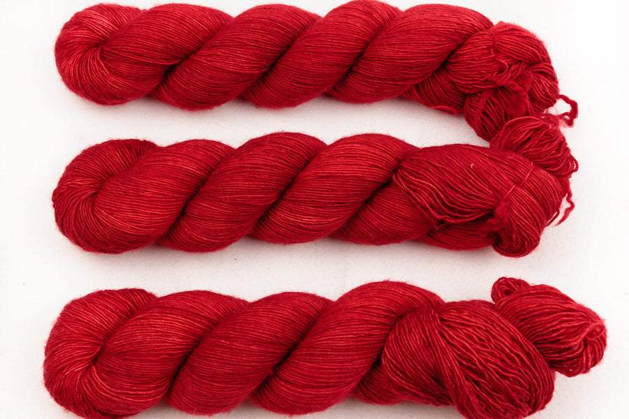 mars hand dyed yarn fingering yarn bright red 4ply yarn merino wool skinny singles 100g
