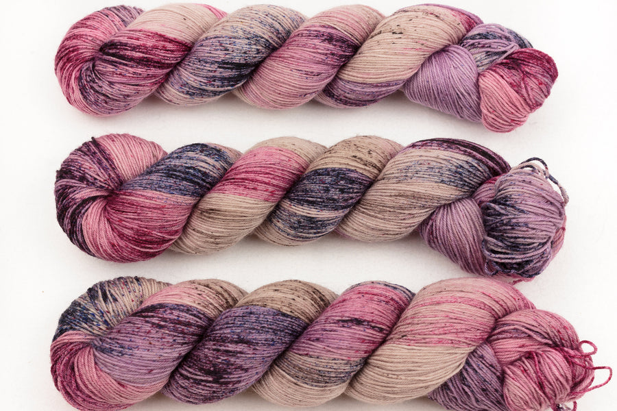 moonlight hand dyed yarn fingering yarn speckled yarn merino wool 4ply sock yarn beige purple pink 100g