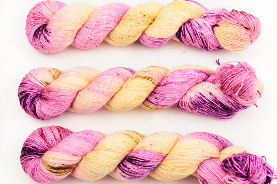 lullaby hand dyed yarn sock yarn speckled yarn fingering yarn merino wool 4ply sock pink purple yellow 100g