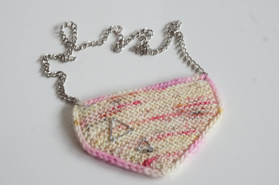 knitted necklace kit - geometric mood - hand dyed yarn