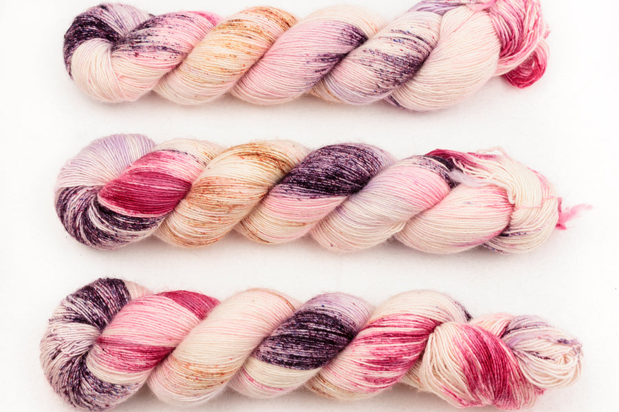 marshmallow hand dyed yarn fingering yarn merino wool 4ply skinny singles cream pink purple 100g
