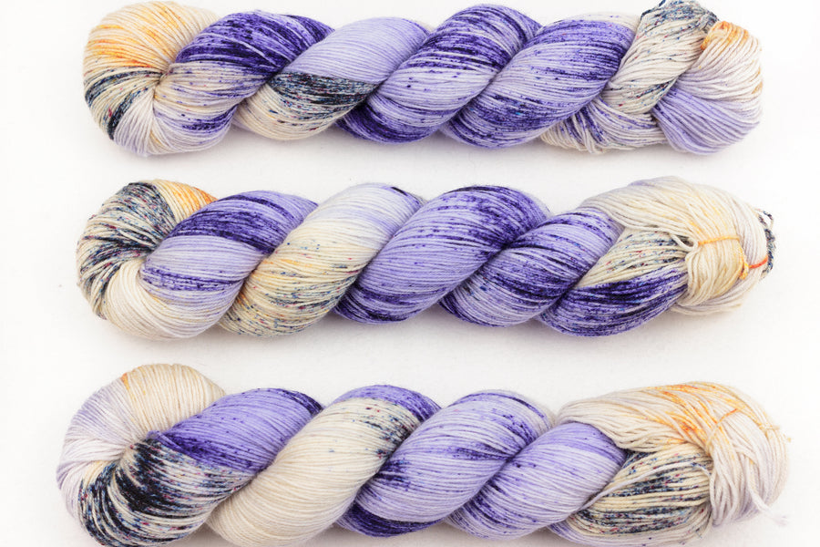 reflections hand dyed yarn sock yarn fingering yarn merino wool speckled yarn 4ply sock lilac orange cream 100g