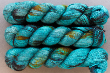 peacock - yak lace - single ply hand dyed lace yarn - 100g