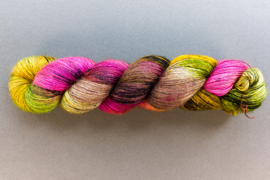 pinata - yak lace - single ply hand dyed lace yarn - 100g