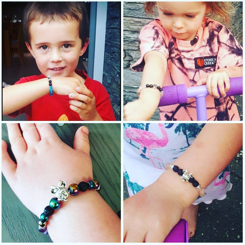 Kids bracelets with a calming essential oil blend