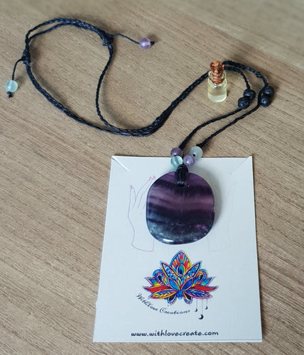 Fluorite Necklace With Lava Stone And Essential Oil