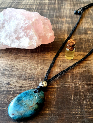 Apatite Necklace With Lava Stone And Essential Oil