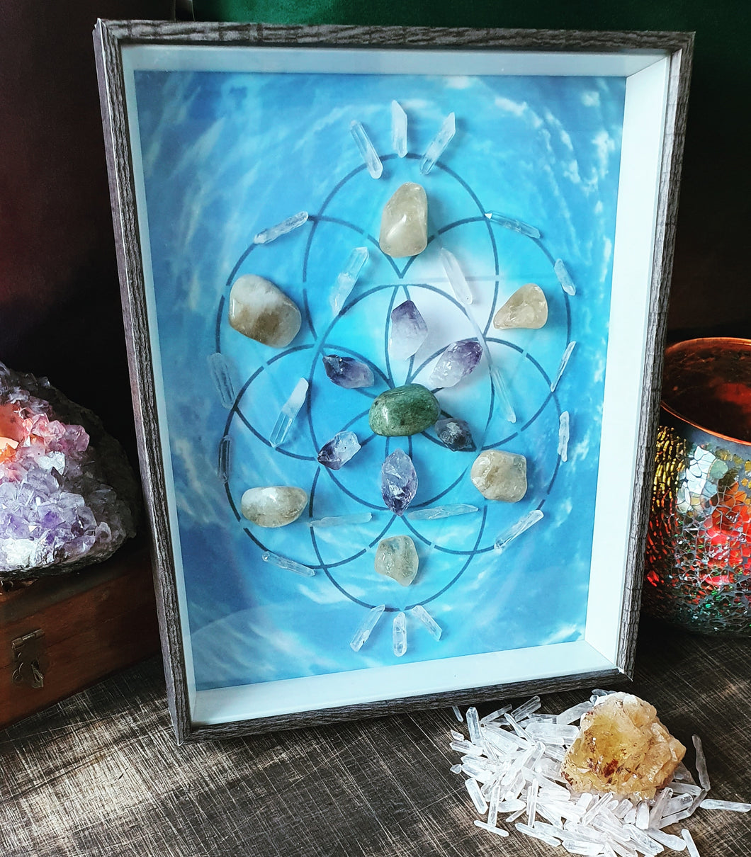 Seed Of Life Framed Crystal Grid