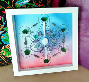 Metatrons Cube, Framed Crystal Grid