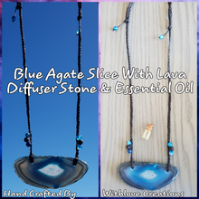 Load image into Gallery viewer, Blue Agate Slice With Lava Diffuser Stone & Essential Oil