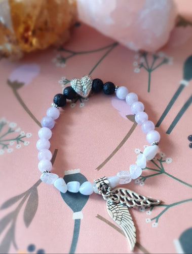 Angelite & Blue Lace Agate Diffuser Bracelet With Essential Oil