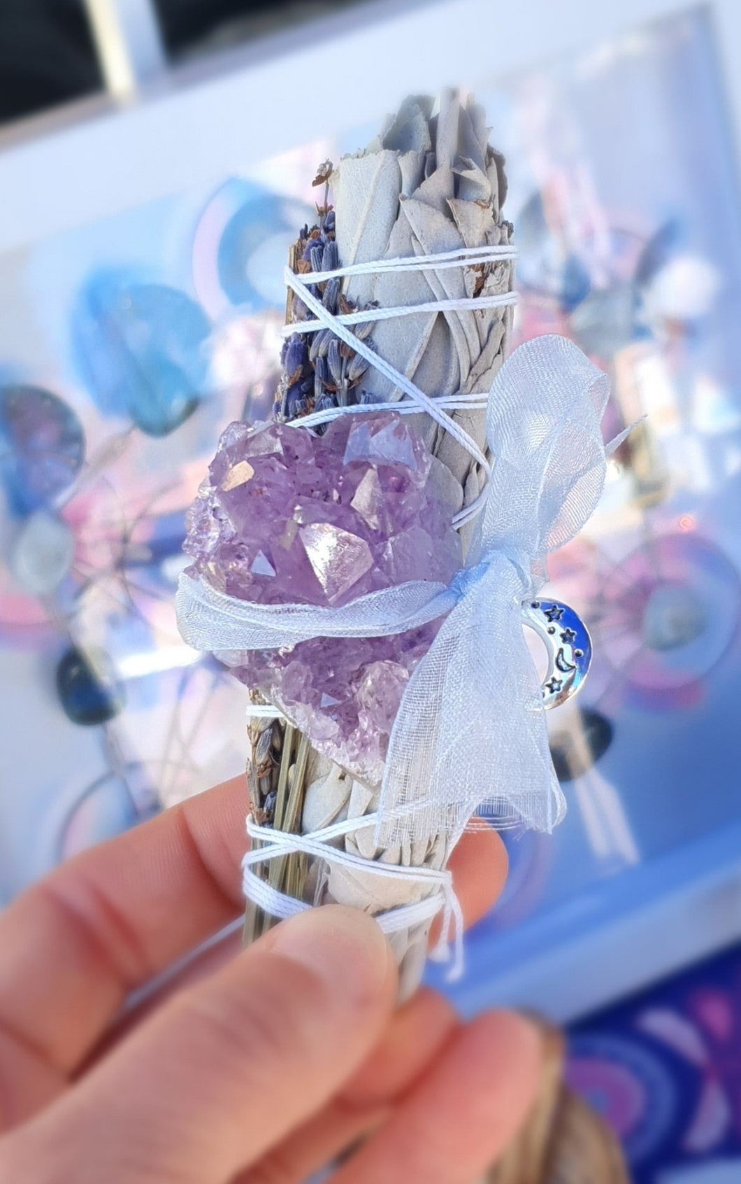 Cleansing Lavender & White Sage Smudge Stick With Amethyst