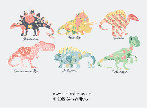 Art Print: Set of 6 5x7 prints - Nomi & Brave Travel the Jurassic
