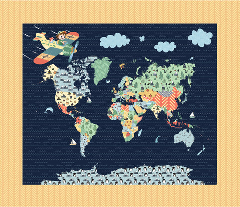 Crib Heirloom Quilt: Jake & Scout Travel the World