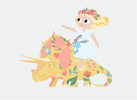 Art Print: Nomi & Brave Ride - Nomi & Brave Travel the Jurassic