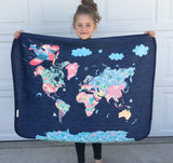 Minky Snuggle Blanket: Nomi & Brave Travel the World