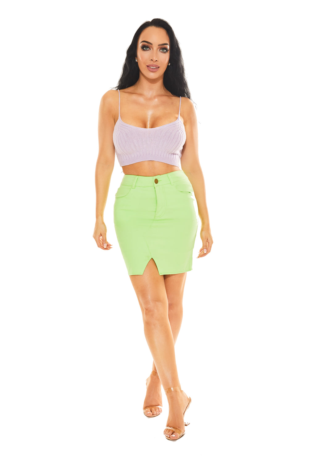 CASUAL CAMI CROP TOP - Lavender knit - www.prettyboutique.com