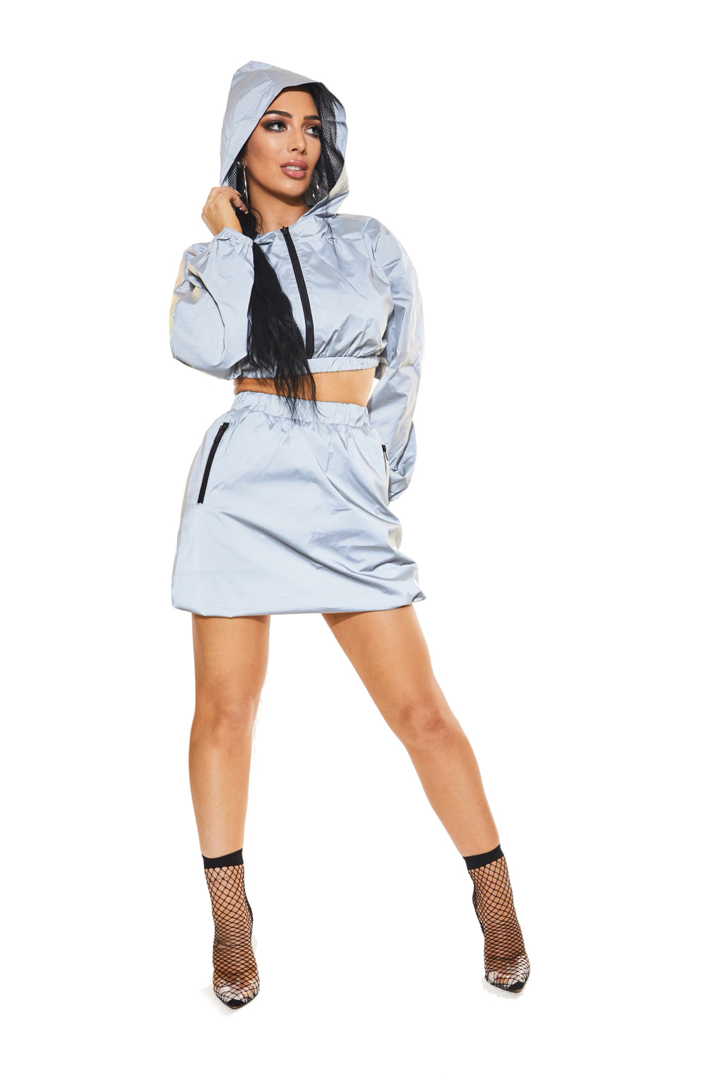 CAN YOU SEE ME NOW?! REFLECTIVE cropped jacket and skirt set - www.prettyboutique.com