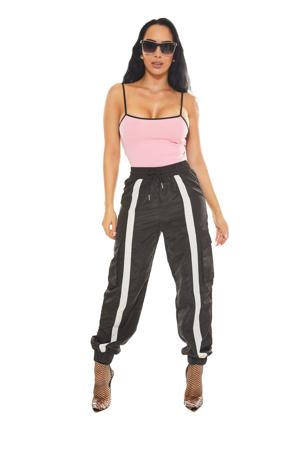 JAIL HOUSE SWAG - Black Stripe Track Pant - www.prettyboutique.com
