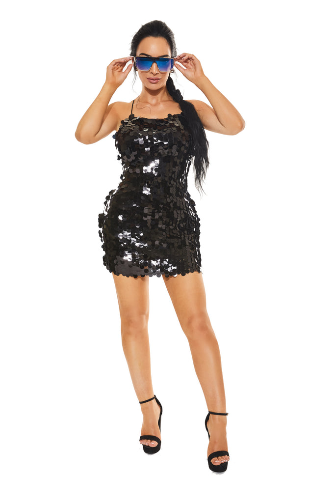 MIDNIGHT SHININ' - Black Sequin Dress - www.prettyboutique.com
