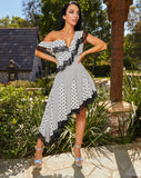 BREAKFAST AT TIFFANY'S - Asymmetrical Polka Dot Dress. - www.prettyboutique.com