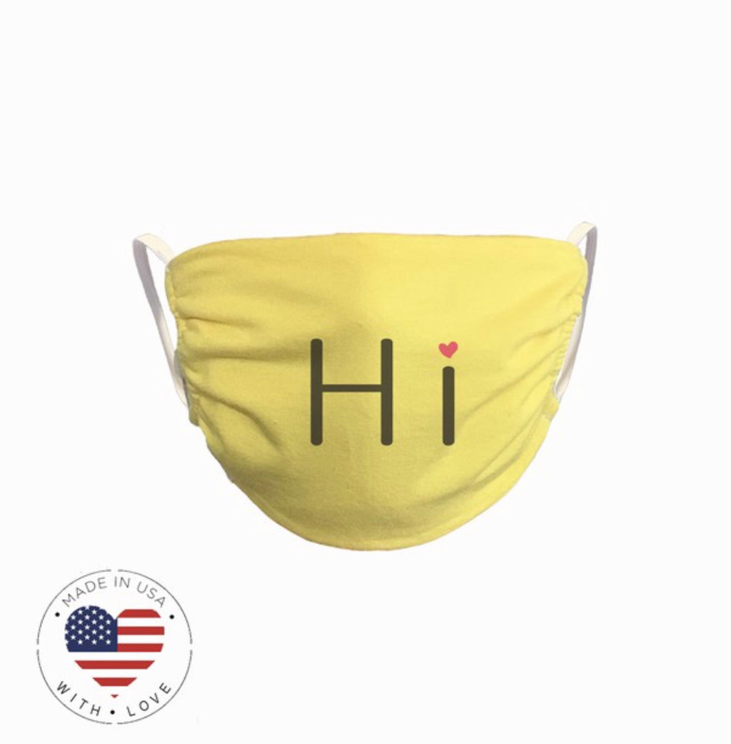 'Hi' fashion face mask - www.prettyboutique.com
