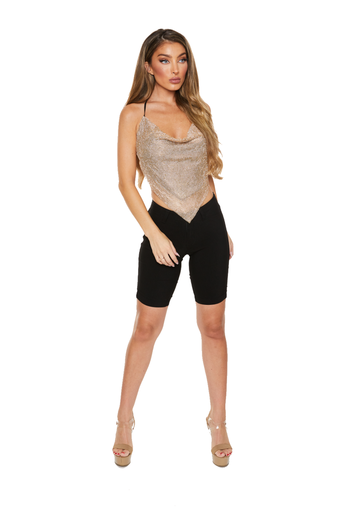 BARBIE DREAMS - Diamante top - GOLD - www.prettyboutique.com