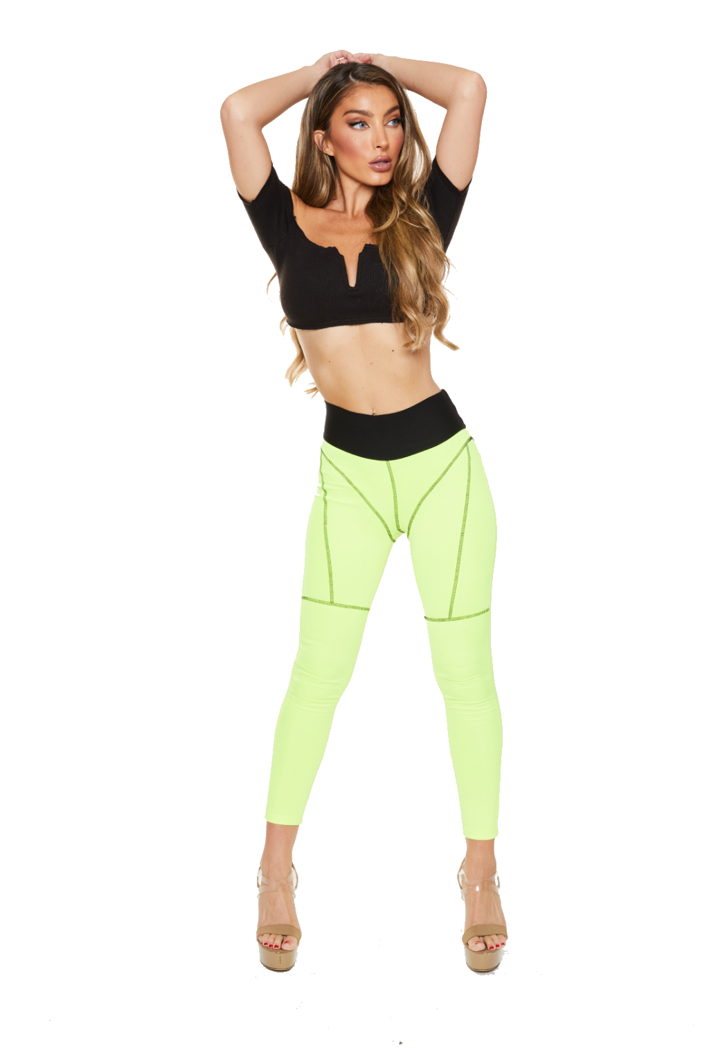 SCUBA STAR LEGGINGS - HIGHLIGHTER YELLOW - www.prettyboutique.com