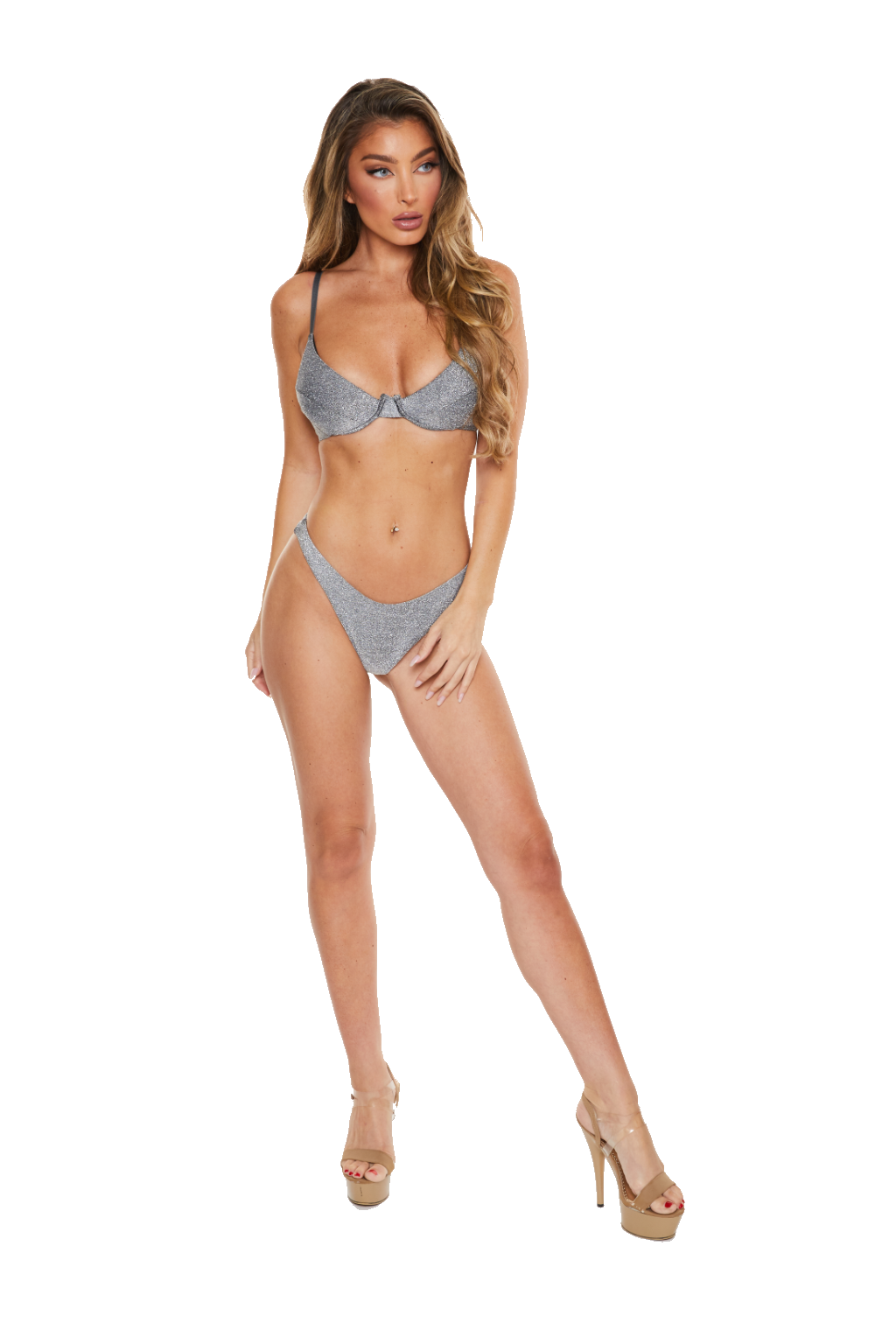 DAZZLE FOR DAYZ - SILVER SPARKLE BIKINI BOTTOMS - www.prettyboutique.com