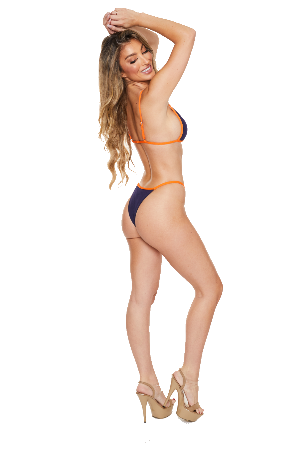 CATCHING WAVES - NAVY AND ORANGE BIKINI - www.prettyboutique.com