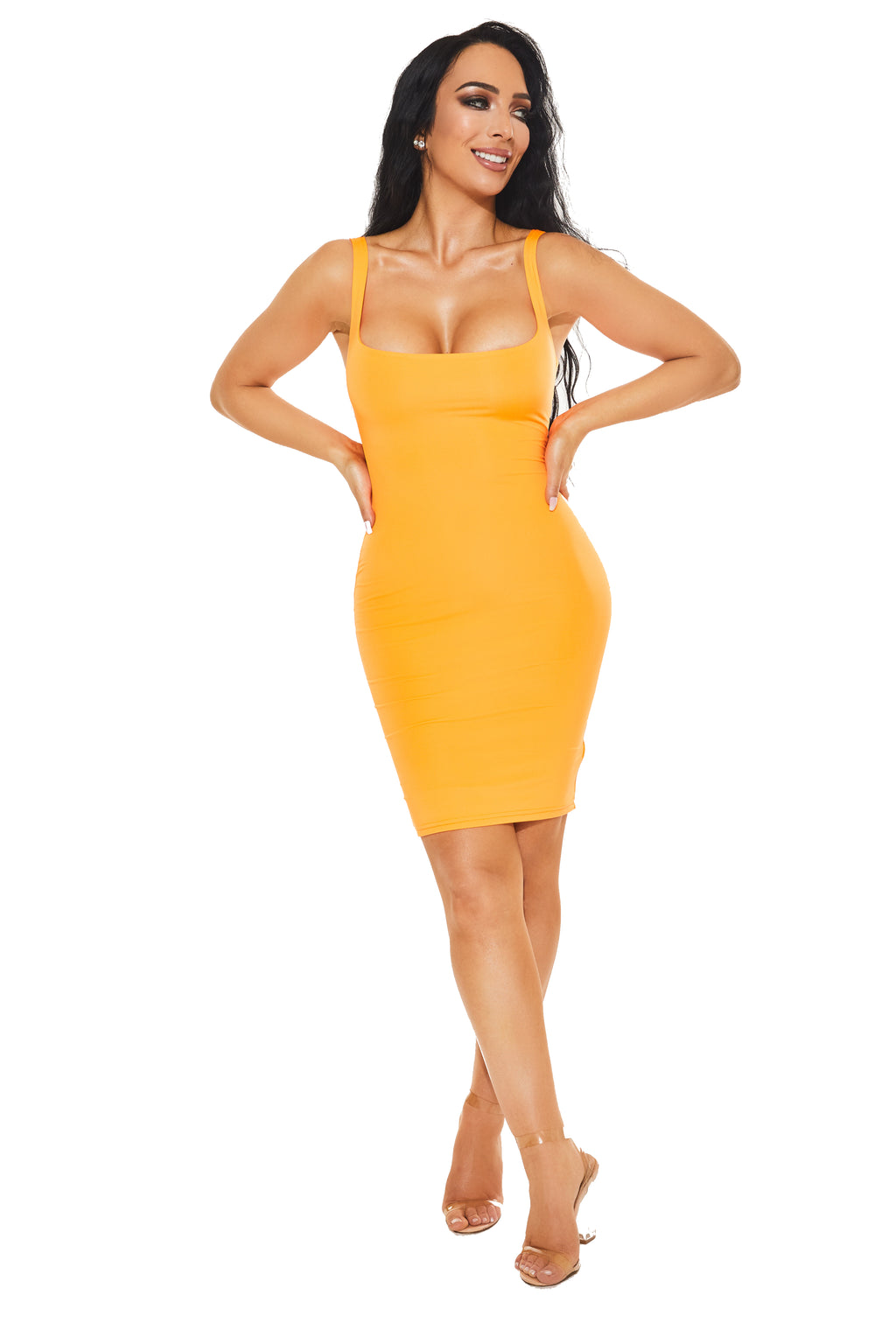 NOT SO BASIC, BASIC DRESS - Neon Orange - www.prettyboutique.com