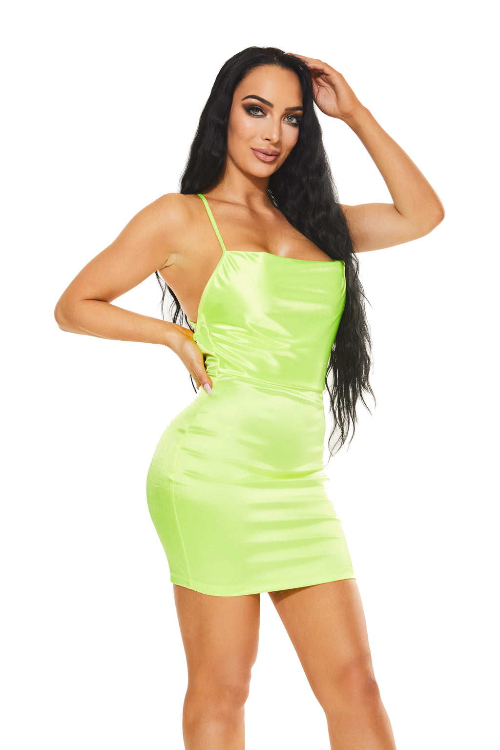 VAVA VOOM Satin dress - Lime - www.prettyboutique.com