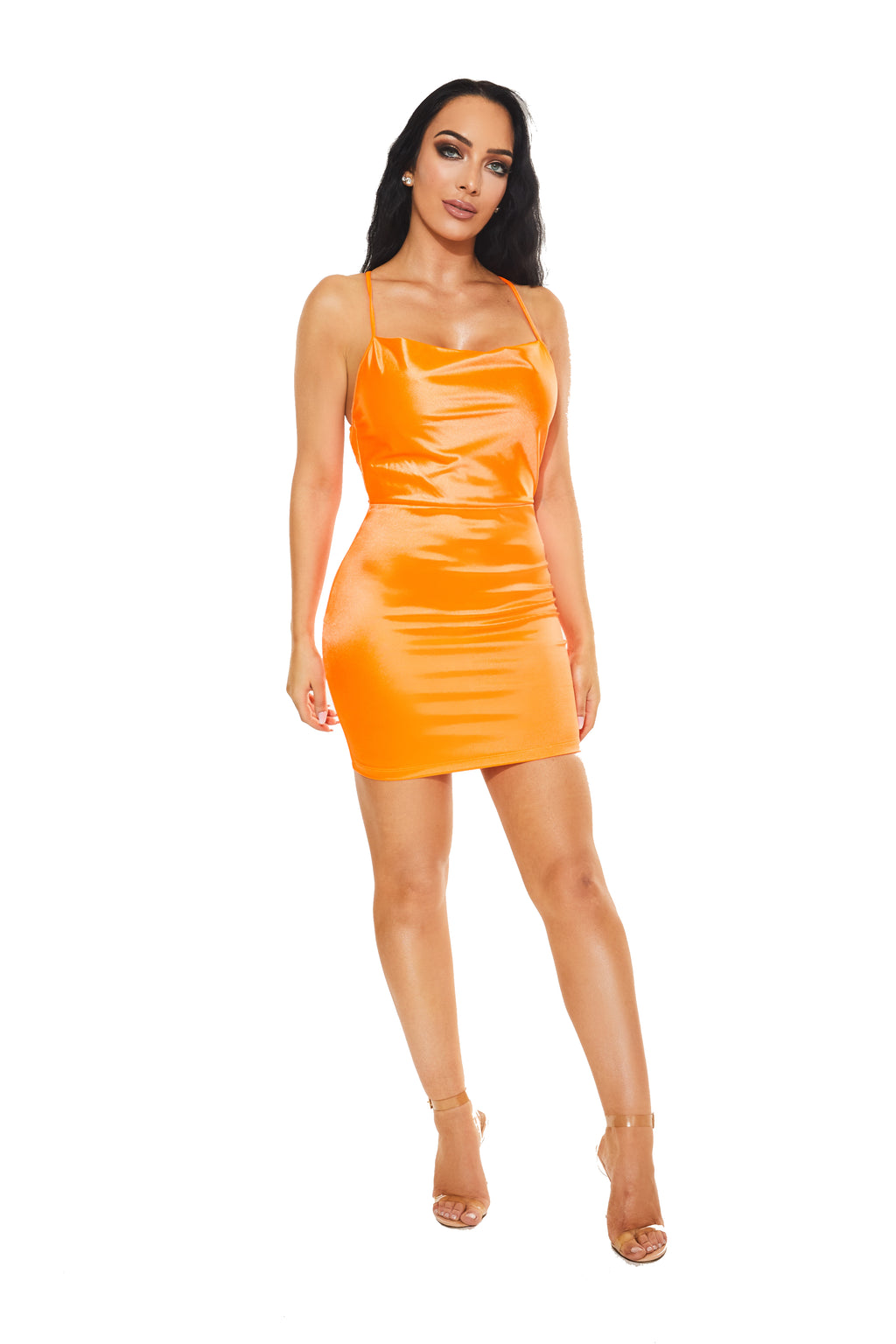 VAVA VOOM Satin dress - Neon Orange - www.prettyboutique.com