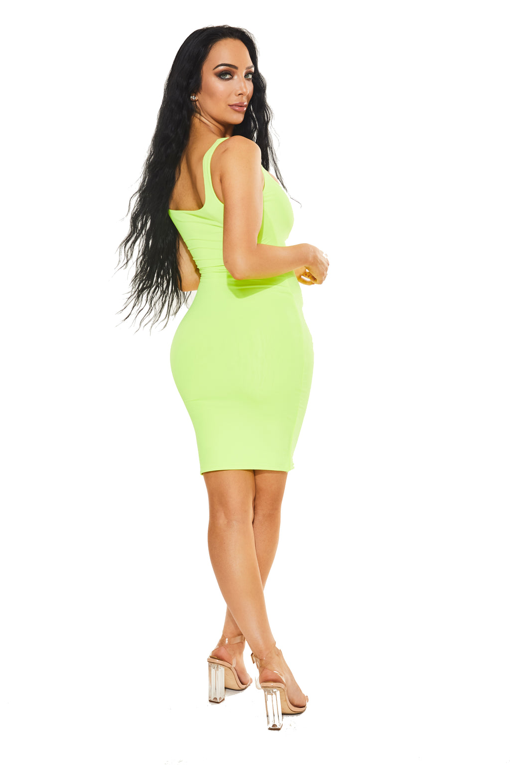 NOT SO BASIC, BASIC DRESS - Neon Lime - www.prettyboutique.com