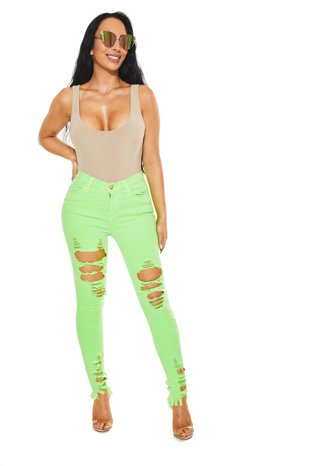 WATCH ME LEAVE JEANS - Neon Green - www.prettyboutique.com