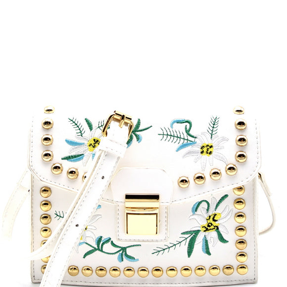 Floral Embroidery Satchel