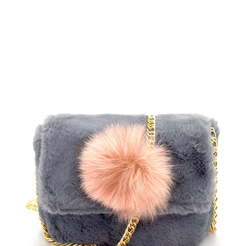 Pom Pom Fur Shoulder Bag
