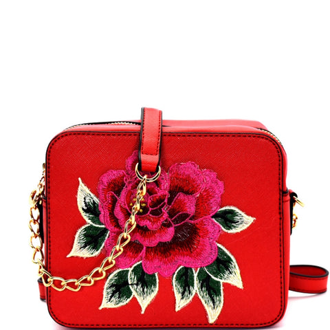 Flower Saffiano Cross Body
