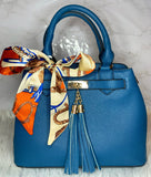 Mya Scarf Accent Satchel (Royal Blue)