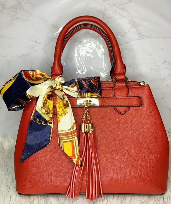 Mya Scarf Accent Satchel (Red)