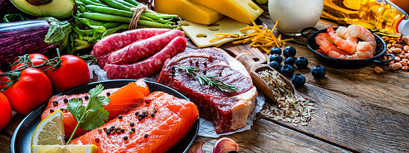 Variety of meats, vegetables and fruits.