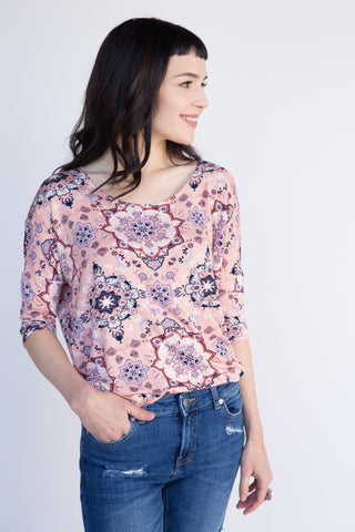 Grand Mosaic Blush and Navy Dolman Tunic