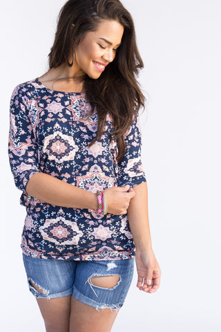 Grand Mosaic Navy and Peach Dolman Tunic