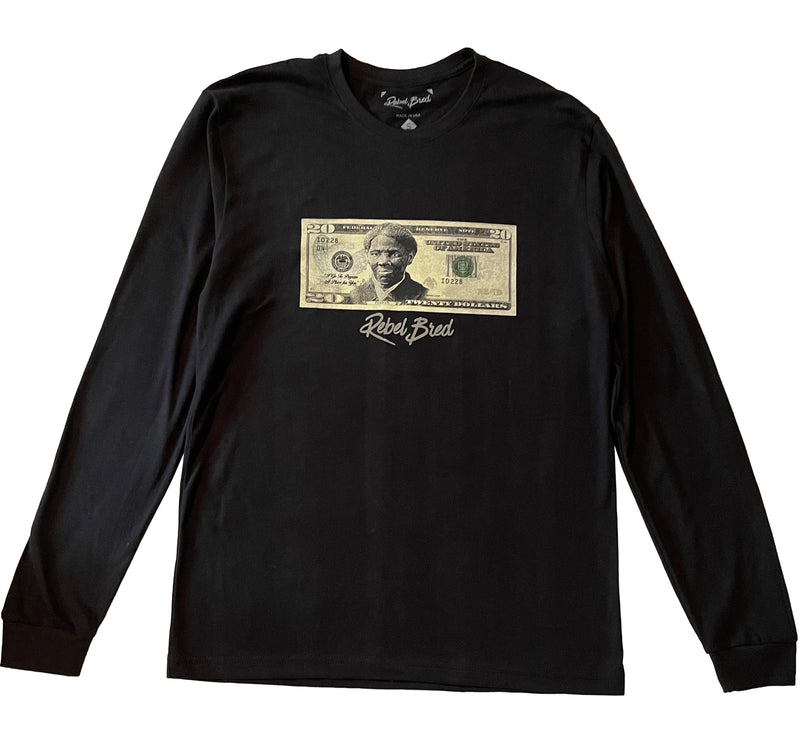 Harriet Tubman Twenty Dollar Bill Long Sleeve T-shirt