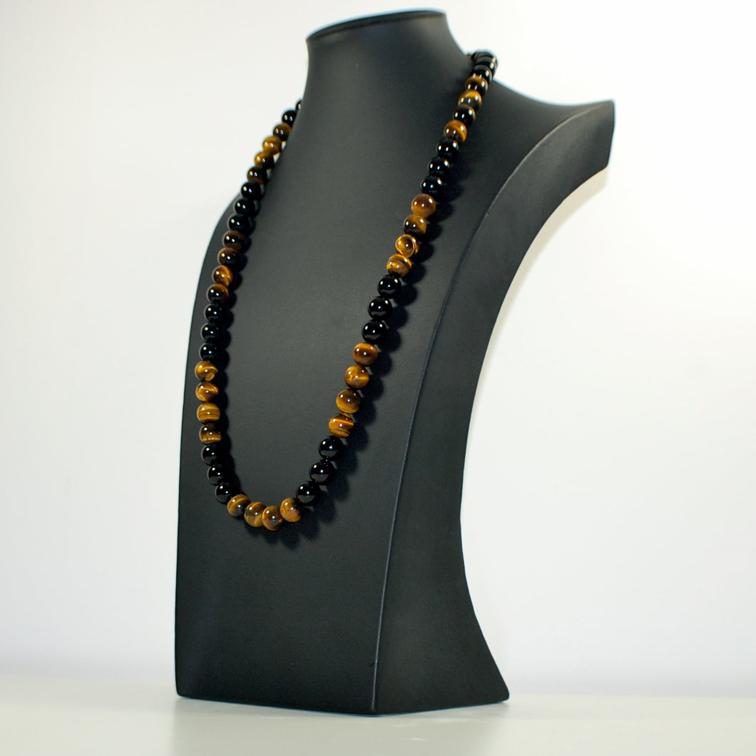 Tiger Eye and Onyx Necklace