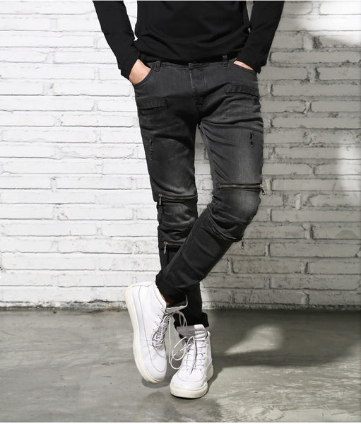 Black denim trousers Multi-zipper Men Jeans high quality Slim stretch jeans