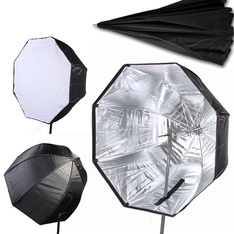 "80cm/32"" Umbrella Softbox Brolly Reflector Diffuser with Carbon Fiber Bracket for Speedlite Flash Light"