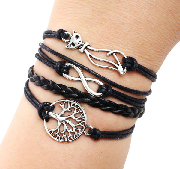 Women Cat Tree Multilayer Knit Leather Rope Chain Charm Bracelet