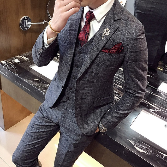 Mens Plaid suits casual business 3-piece set suits